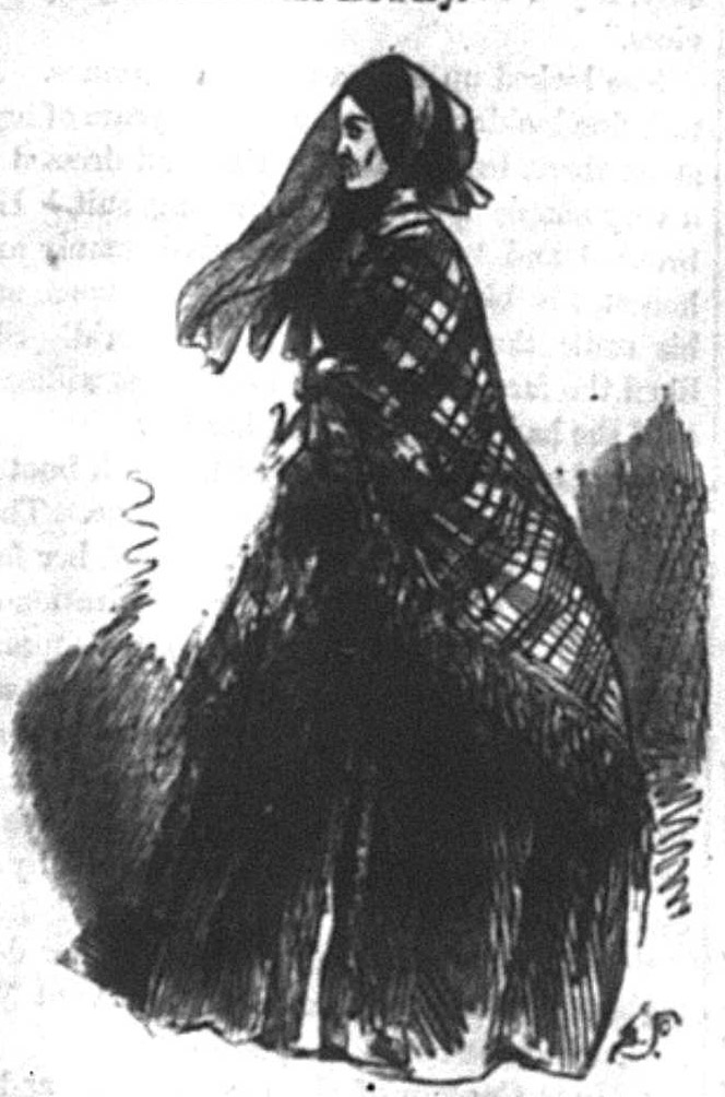 A young woman in a voluminous striped dress, facing right. An older woman wearing a veil and a dark dress, facing left.