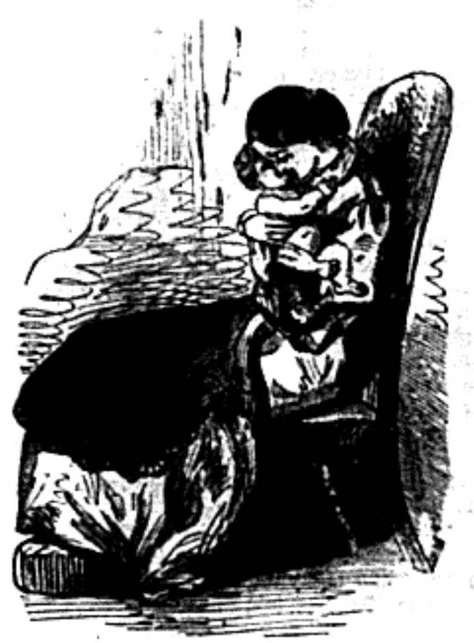 A woman, seated in a chair and holding a young child.