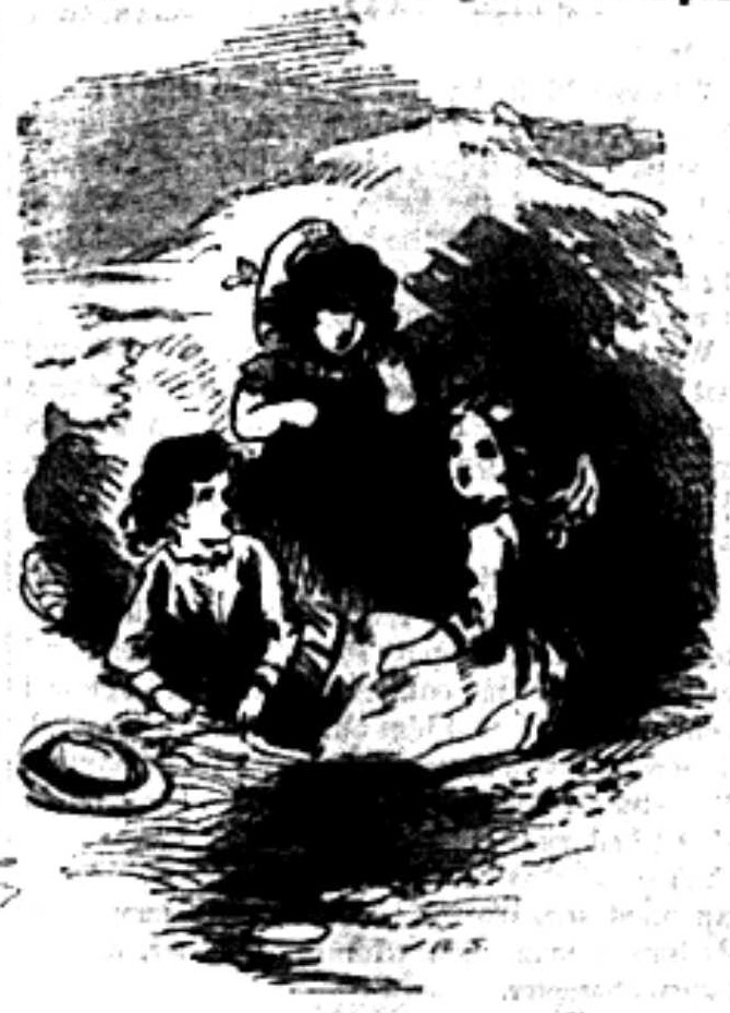 Three young girls playing in a pile of sand.